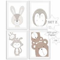Kinderzimmer Babyzimmer Bilder Tiere Tier Bild Poster Wildtiere Waldtiere ❤ Skandinavischer Stil ❤ minimalistisch ❤ |SET 2 Bild 1