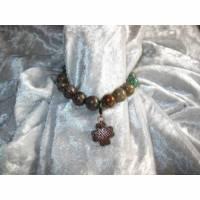 elastisches Edelstein-Armband Jaspis mit Kleeblatt Charm, Rotbronze Bild 1