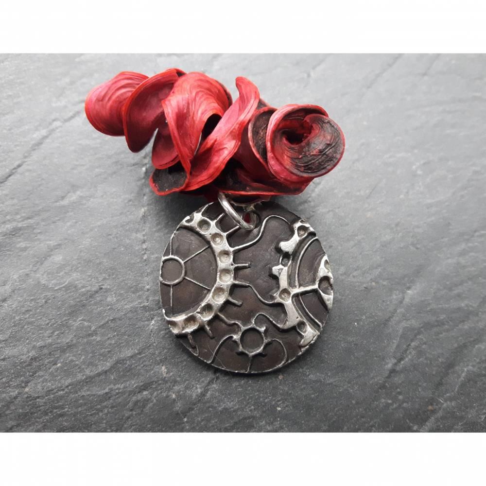 Anhänger Steampunk aus 999 Silber, Silberanhänger mit Zahnrädern, patiniert Bild 1
