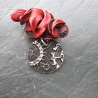 Anhänger Steampunk aus 999 Silber, Silberanhänger mit Zahnrädern, patiniert Bild 2