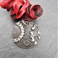 Anhänger Steampunk aus 999 Silber, Silberanhänger mit Zahnrädern, patiniert Bild 3