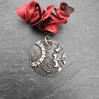 Anhänger Steampunk aus 999 Silber, Silberanhänger mit Zahnrädern, patiniert Bild 4