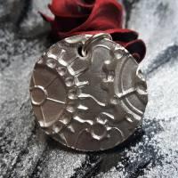 Anhänger Steampunk aus 999 Silber, Silberanhänger mit Zahnrädern, patiniert Bild 5