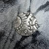 Anhänger Steampunk aus 999 Silber, Silberanhänger mit Zahnrädern, patiniert Bild 7