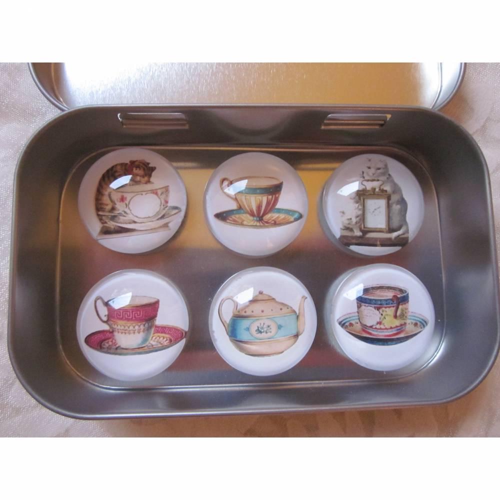 """Magnete Katzen Tee Kaffee Tasse Kanne Uhr Vintage Stil 6er Set """"Chats"""" Geschenkidee Katzenfreunde  Bild 1"""