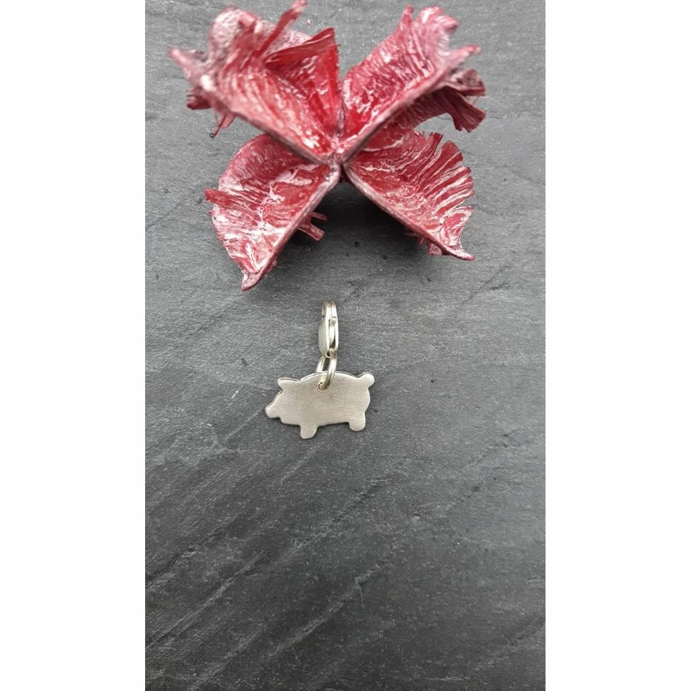 Anhänger Charm Glücksbringer Glücksschweinchen aus 999 Silber Bild 1