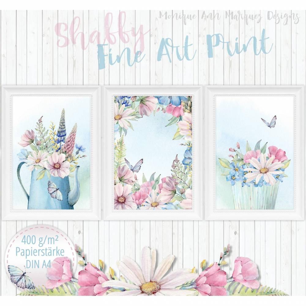 Shabby Chic Landhaus Blumen Cottage Bilder Set  | Wandbilder Kunstdrucke Bilder Fine Art Print  |für den A4 Bilderrahmen | 400 mg | S24 Bild 1