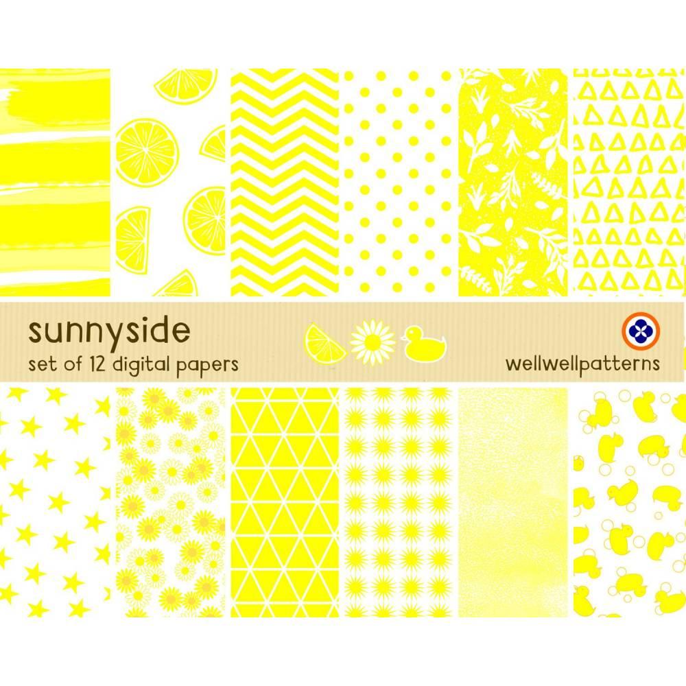 Digitales Papier Set, sonnige Muster, kommerzielle Nutzung Bild 1