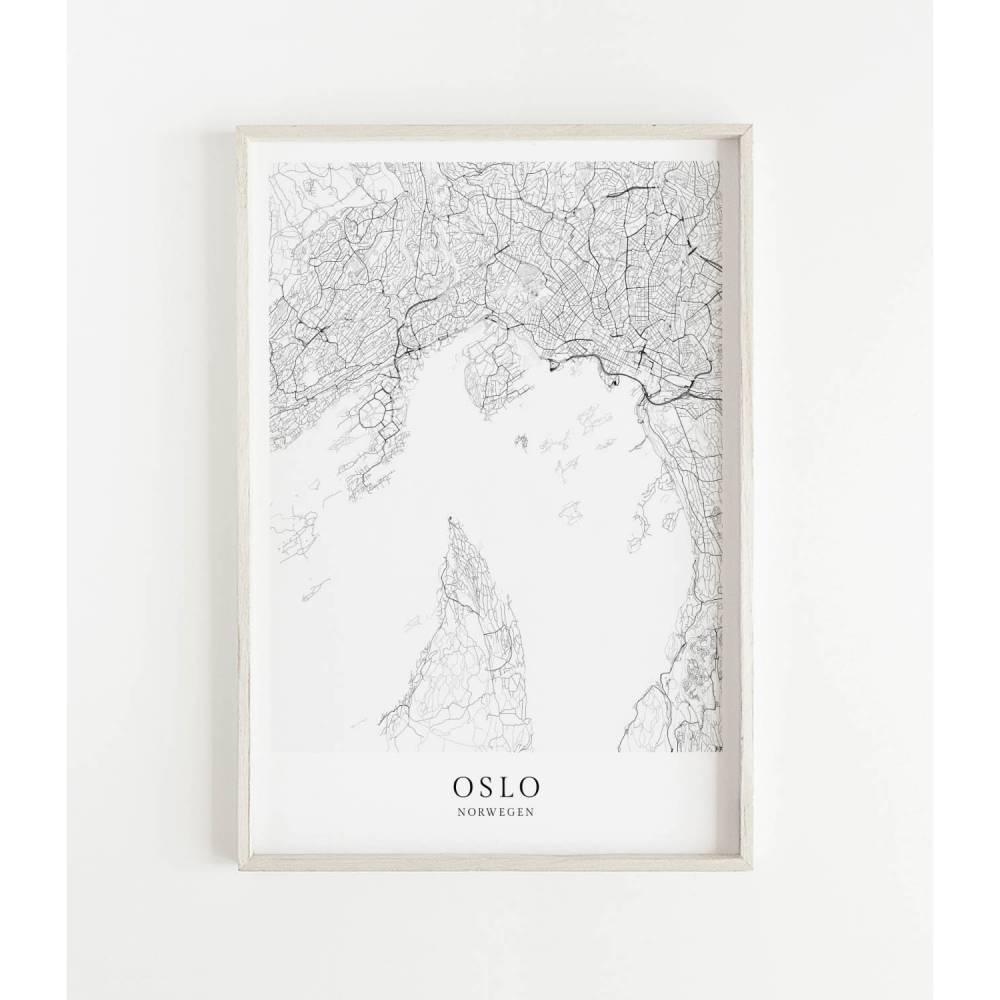 OSLO Poster Map | Kunstdruck | hochwertiger Print | Oslo | Stadtplan | skandinavisches Design Oslo Karte Bild 1