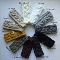 Stirnband mit Zopfmuster von Hand gestrickt aus Baumwolle in weiß, grau, schwarz, braun oder beige Tönen, auf Wunsch mit Fleece gefüttert (warm) Bild 1