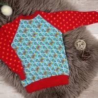Langarm Shirt Retro, Größe 98/104, türkis, rot, Raglan Pullover für Mädchen Bild 1