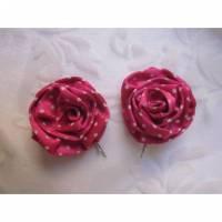 """Haarklammern Pink mit weißen Punkten """"Mimi"""" Haarblüten 50er Jahre Polka Dots gepunktet  Bild 1"""
