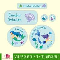 Schulstarter-Set | Meerjungfrau - 90 teilig, Namensaufkleber, Stifteaufkleber, Schuletiketten