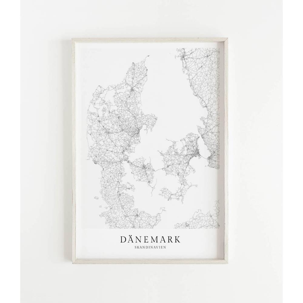 DÄNEMARK Poster Map | Kunstdruck | hochwertiger Print | Dänemark | Stadtplan | skandinavisches Design Dänemark Karte Bild 1
