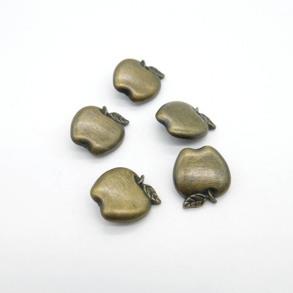 5 Stück, Apfel-Knöpfe, Metalldruckknöpfe, messingfarben Bild 1