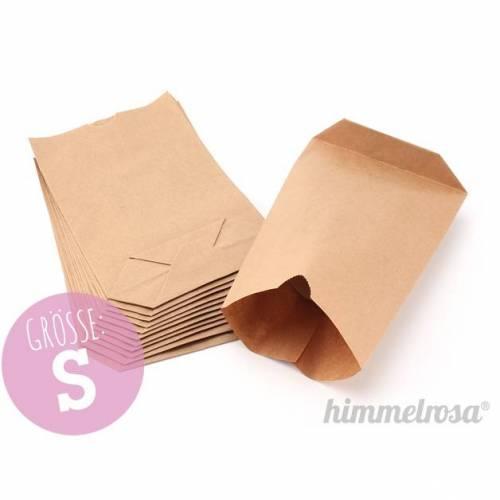 12 Papiertüten braun mit Boden in S, Kraftpapier, Adventskalender