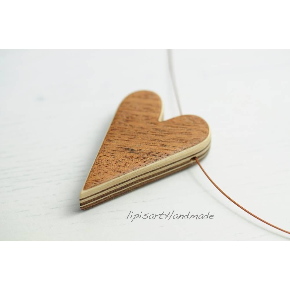 Holzkette – Herz auf Draht Furnierschichtholz Mahagoni Ahorn II Bild 1