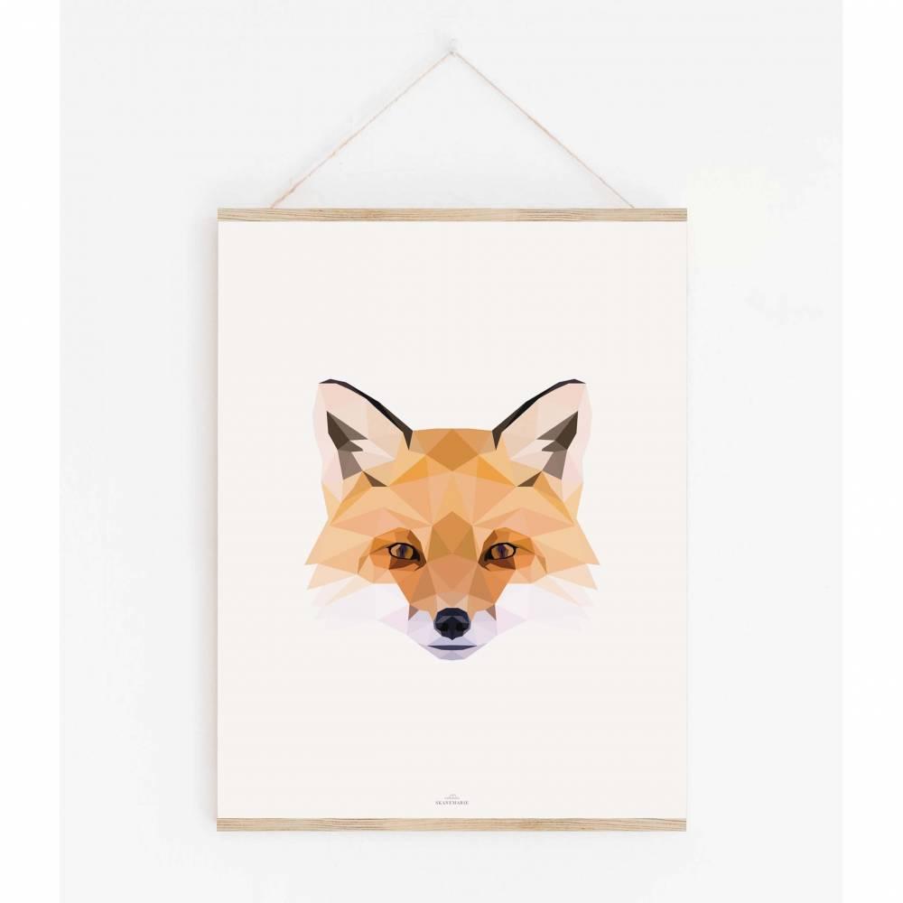 FUCHS POLY ART Print | Poster skandinavisch |  Poster Tiere  | wunderschön gestaltet |  Geschenk Poster |  verschiedene Größen Bild 1