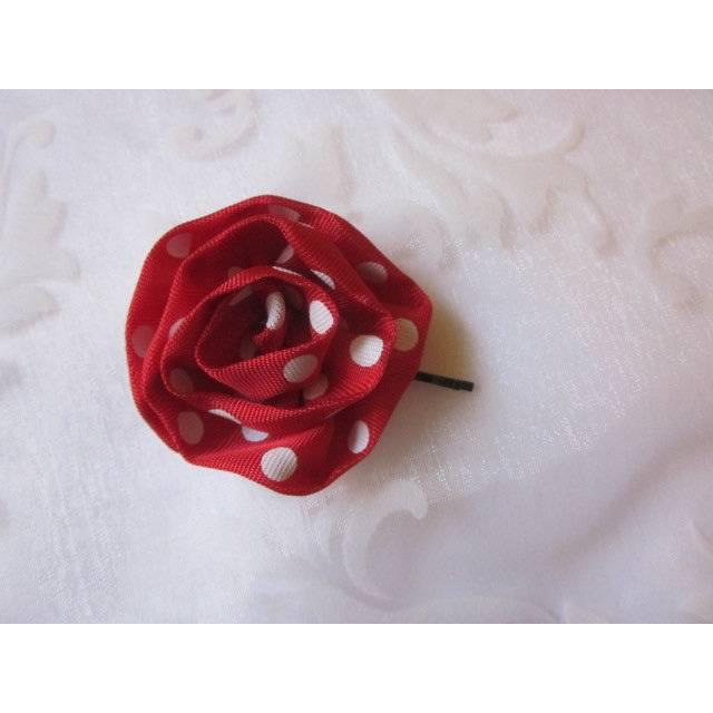 """Haarklammer Rot mit weißen Punkten """"Joie"""" Klammer Haarblume Stoffblume Haarblüte Polka Dots 50er  Bild 1"""