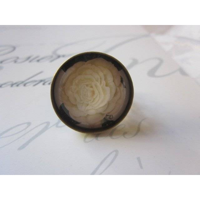 """Cabochon Ring Rose gelb """"Christine"""" viktorianisch verschnörkelt Geschenkidee  Bild 1"""
