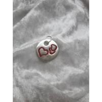 rundes Amulett rote Herzen aus 999 Silber, Trachtenschmuck Bild 1