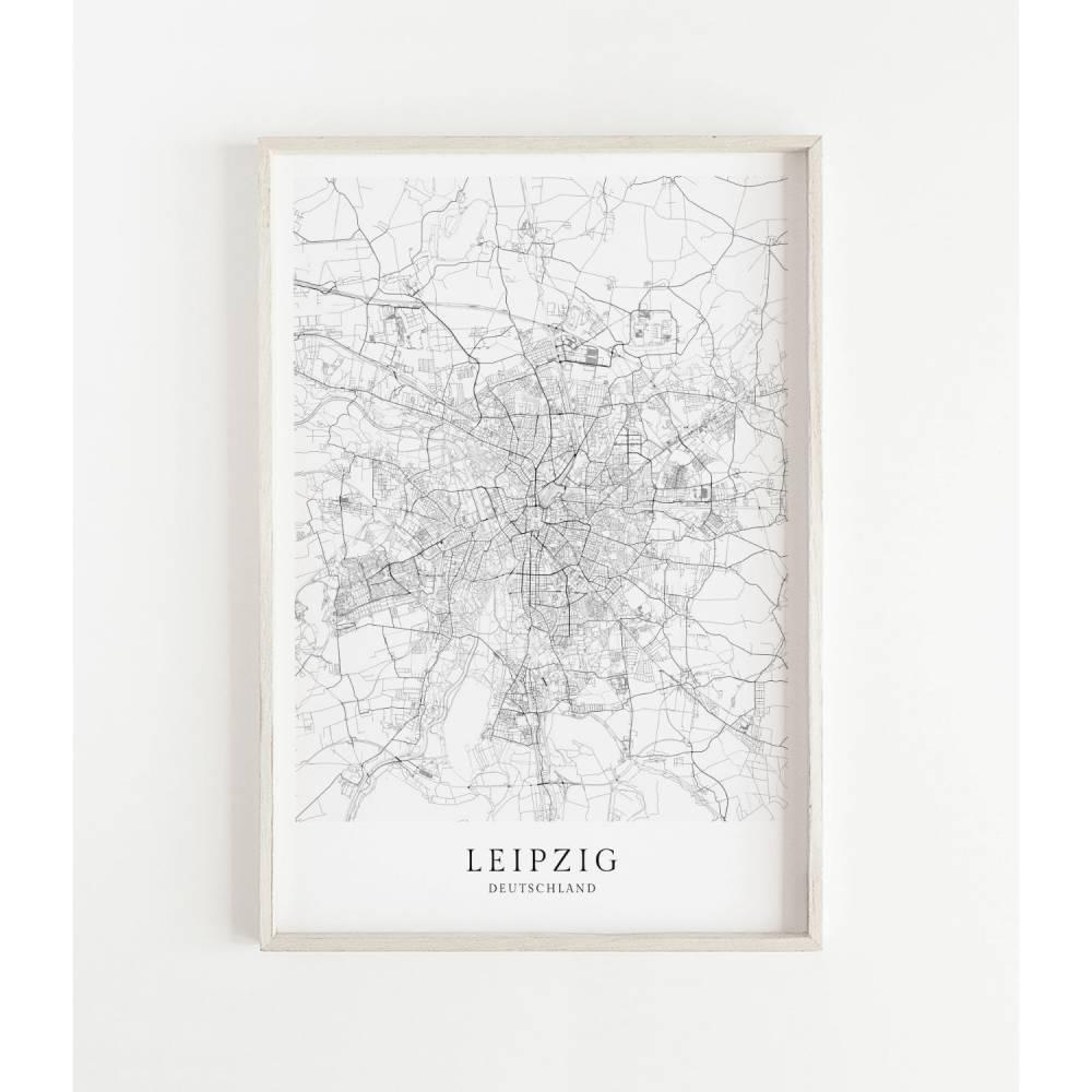 LEIPZIG Poster Map | Kunstdruck | hochwertiger Print | Leipzig Stadtplan | wunderschönes skandinavisches Design Leipzig Karte CityMap Bild 1