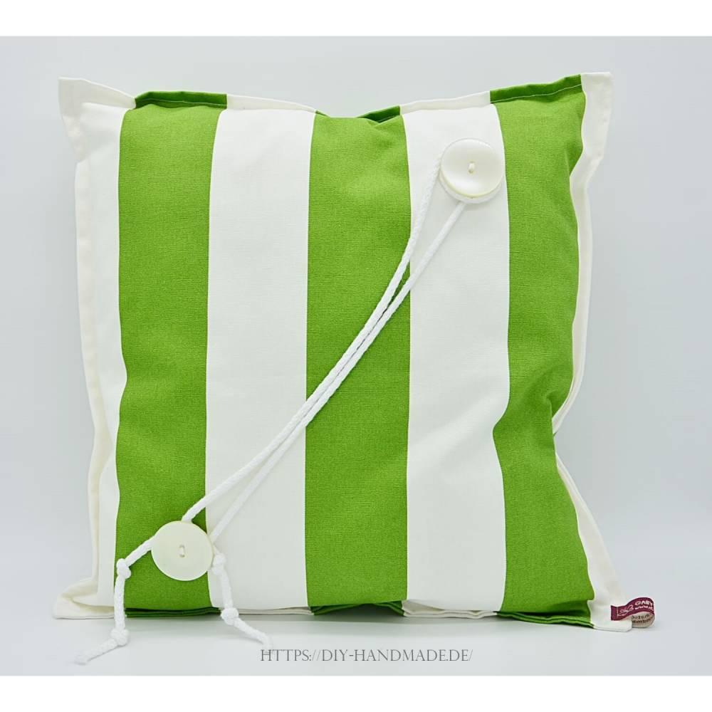 Kissen grün weiß gestreift mit Kordelverzierung und hochwertiger Füllung, Kuschelkissen, 40x40 cm, Unikat,  Bild 1