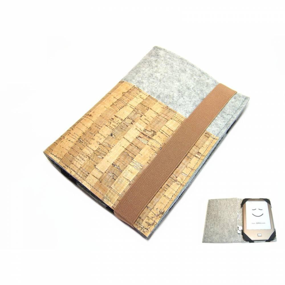 """aufklappbare eBook Reader eReaderhülle Tablet Hülle Wollfilz Kork Maßanfertigung bis max 8,0"""", z.B. für Tolino Vision 5 Kindle Bild 1"""