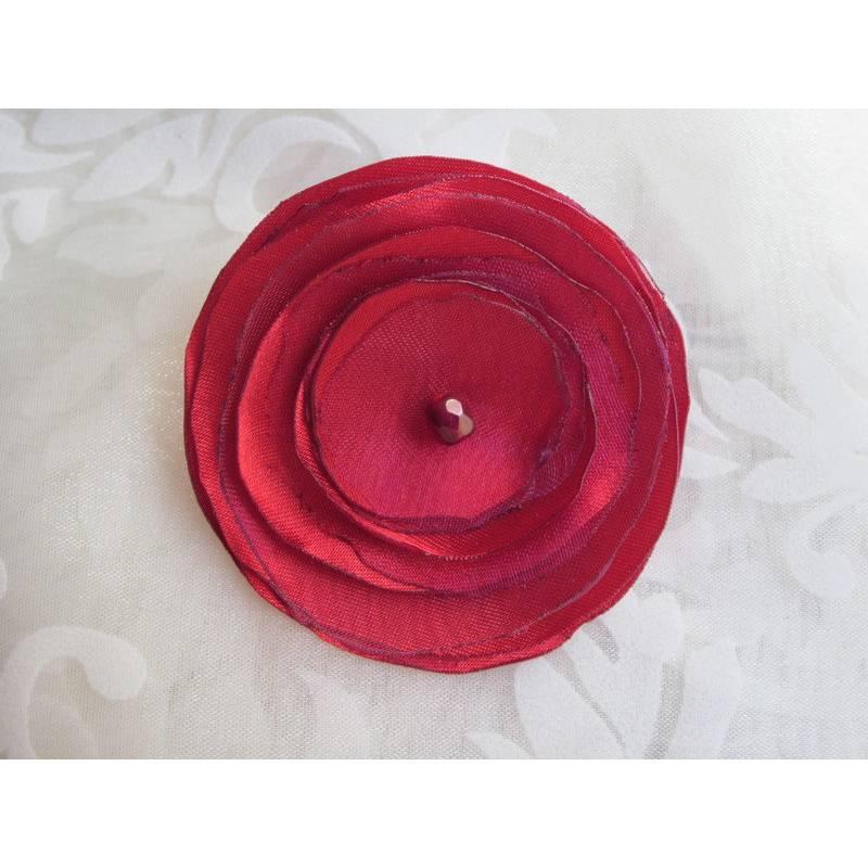 """Stoffbrosche Anstecker Brosche Rot Violett """"Flamme Rouge"""" Satin Organza Tango Flamenco Stoffblume  Bild 1"""