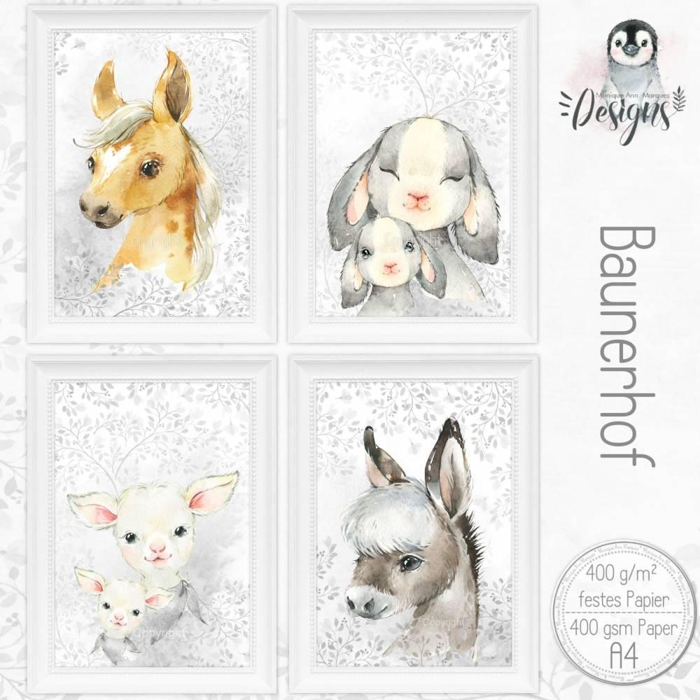 BAUERNHOF Kinderzimmer Bilder Set Tiere  Farm Poster Kinderposter, Kinderbilder Tierposter für A4 Bilderrahmen |Set 44/Farm 1 Bild 1