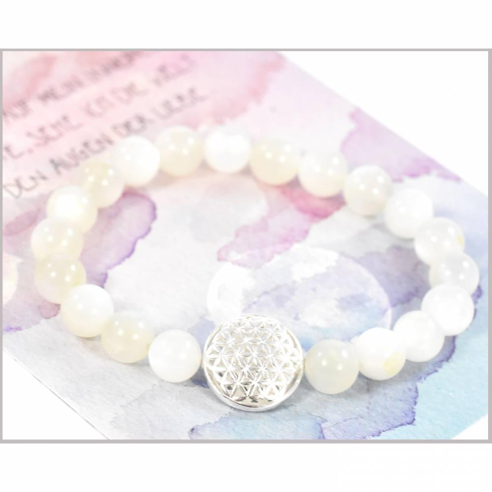 Mondstein Edelstein Armband mit Blume des Lebens aus 925 Silber Bild 1