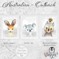 AUSTRALIEN Bilder Set Tiere Kinderzimmerbilder Babyzimmer Koala Bär, Wombat mit Schnabeltier, Känguru Kinderzimmer Bilder  | Set 44/Outback Bild 1