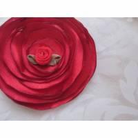 """Stoffblume Rot Haarklammer Blume Klammer Tango Flamenco """"Feu et Flamme"""" Abschlussball Taufe  Bild 1"""