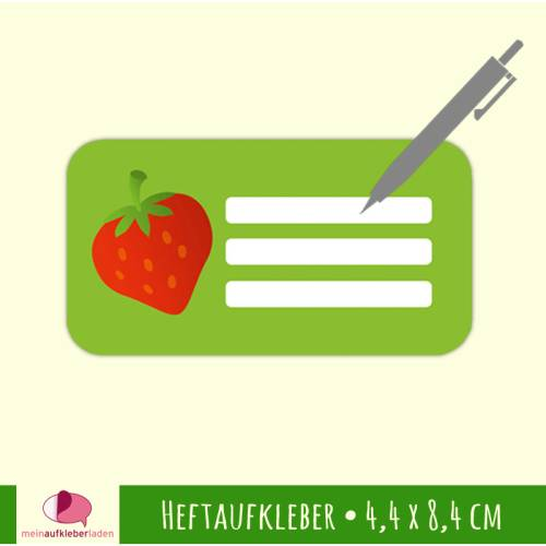 12 Heftaufkleber | Erdbeere - Schulaufkleber zum selbstbeschriften - 4,4 x 8,4 cm