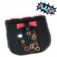 Gürteltasche, Hüfttasche, Schwarz-Rot bestickt mit Kreisen, 23cmX19cm