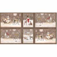 Woodland Dream by Quilting Treasures, Patchwork Baumwolle, Sterne, beige, Weihnachten, Panel, Hirsch, Hase, Waldtiere Bild 1