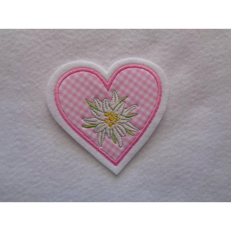 Applikation / Aufnäher Herz mit gesticktem Edelweiss Bild 1