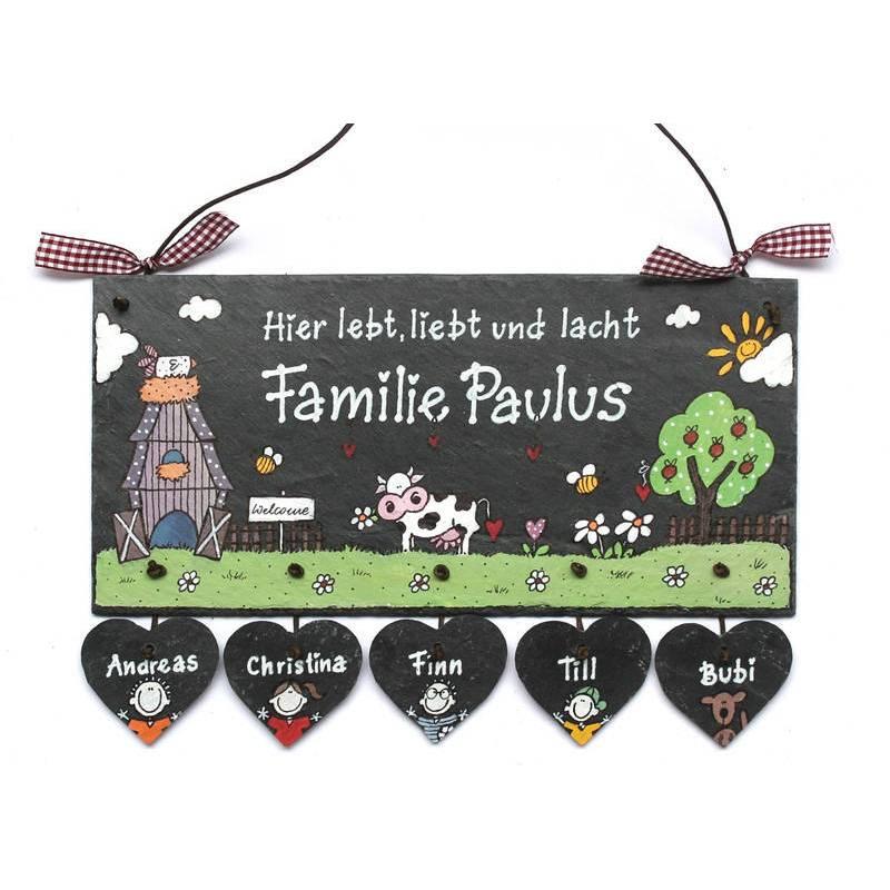 """Schiefer Türschild Motiv """"Bauernhof"""". Namensschild mit Herzanhänger handbemalt individuell personalisierbar Bild 1"""