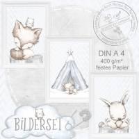Babyzimmer Poster NEUTRAL Kinderzimmer Bilder Wald Tiere Fuchs Eule Hase |S21 Bild 1