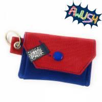 Mini - Geldbörse, Gelbeutel, Rot Blau mit Schlüsselring Bild 1