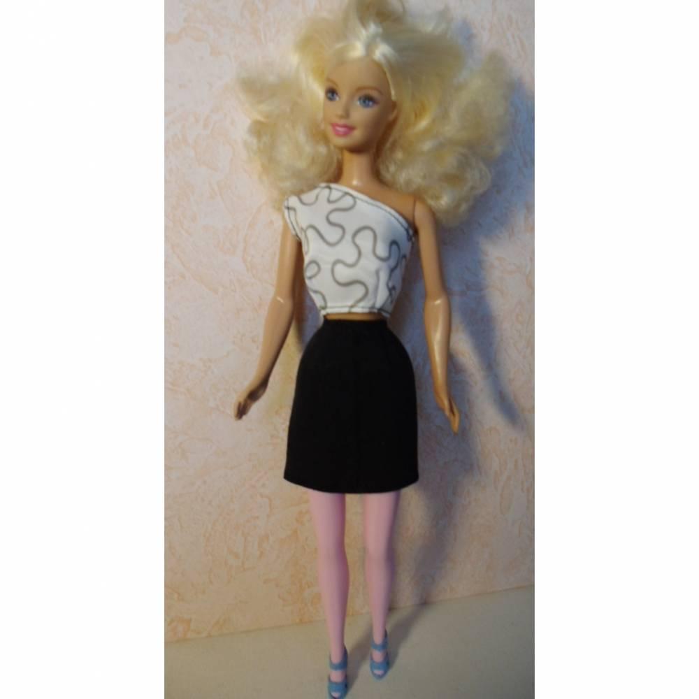 Barbie-Kleidung, Barbie-Rock, Rock für Barbiepuppe, Jaquardstoff in schwarz Bild 1