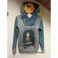 Winter Hoody Sweatshirt Jacke in Öko Baumwolle  Größe 110  Schlupf Hoodie Winter Motive Buben mit Schlitten und Katze Bild 1