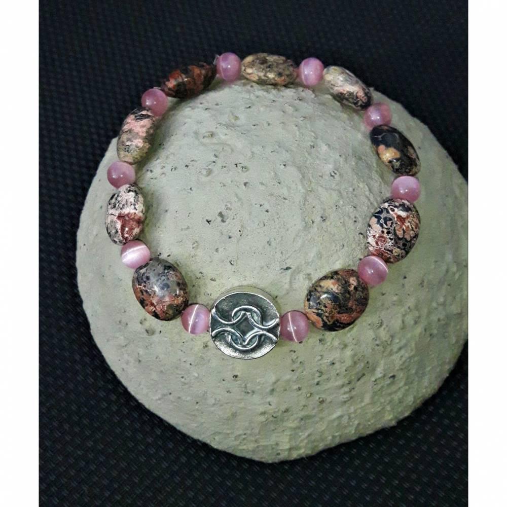 Edelstein-Armband Leopardenfelljaspis mit versilbertem Metallelement und Cateyeperlen Bild 1