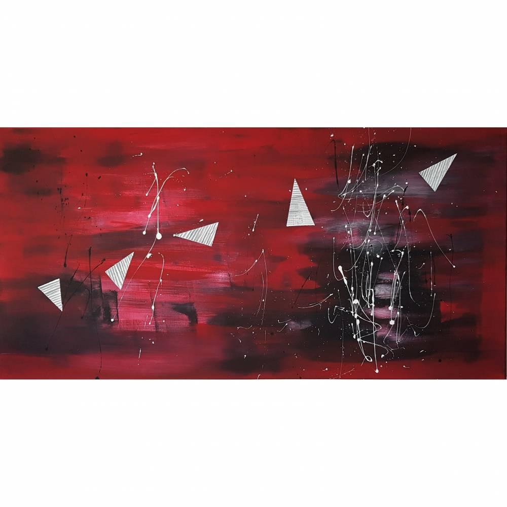 Acrylmalerei auf Leinwand Abstrakt Malerei Bild Malen Kunst Gemälde Farben Rot Bild 1