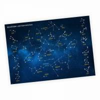 Kinder Lernposter Sternbilder und Sternzeichen - A3/ A2/ A1 *nikima* in 3 verschiedenen Größen Wanddeko Kinderzimmer Bild 1