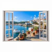 154 Wandtattoo Fenster - Mediterran Mittelmeer Toskana - in 5 Größen - Wandbild Wohnzimmer Schlafzimmer Küche Esszimmer Wanddeko Bild 1