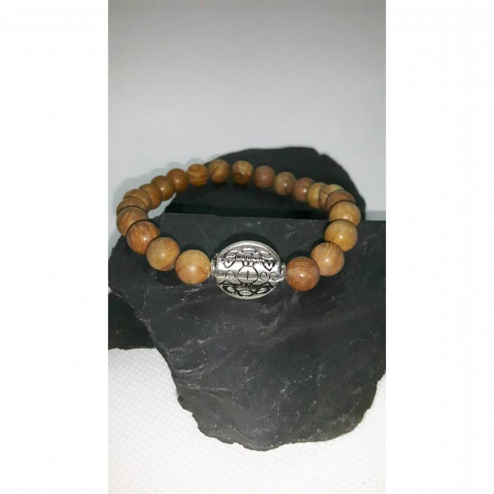 Naturstein-Armband für Sie und Ihn aus braunen Jaspis-Perlen und versilberter Metallperle Bild 1