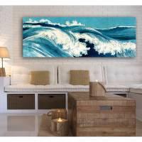 Ocean Waves Japanische Kunst abstrakt - Leinwandbild  -  Kunstdruck Reproduktion - Meer maritim Bild 1