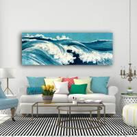 Ocean Waves Japanische Kunst abstrakt - Leinwandbild  -  Kunstdruck Reproduktion - Meer maritim Bild 3