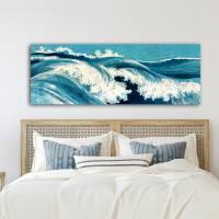 Ocean Waves Japanische Kunst abstrakt - Leinwandbild  -  Kunstdruck Reproduktion - Meer maritim Bild 6